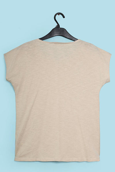 Perforated Details Cotton Beige T-Shirt-SinglePrice