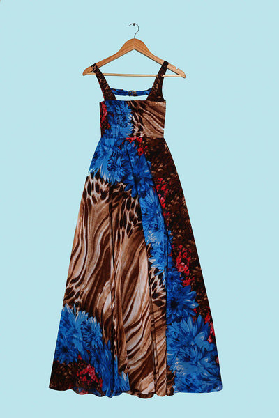 Lace Bust Detail And Gold Belt Blue Maxi Dress-SinglePrice