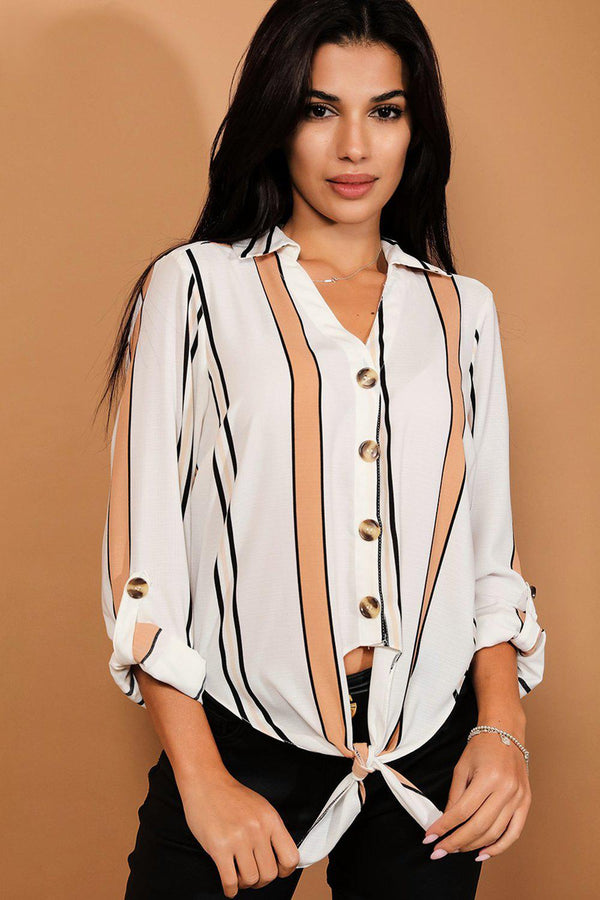 Cream Stripy Buttons And Knot Detail Front Shirt-SinglePrice