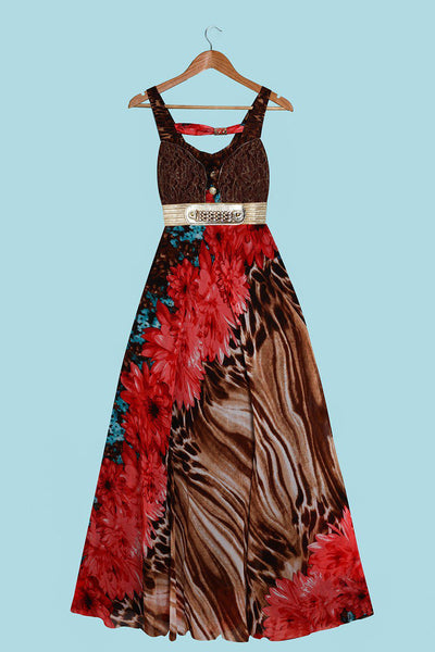 Lace Bust Detail And Gold Belt Red Maxi Dress-SinglePrice