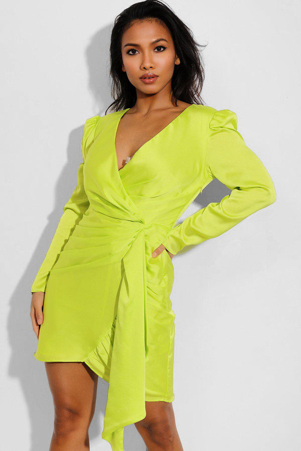 Neon Green Gathered Side Bodycon Dress - SinglePrice