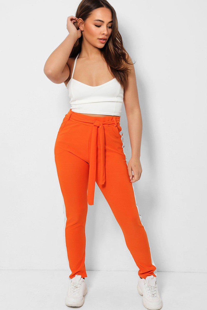 White Side Stripe Detail Orange Waist Tie Trousers - SinglePrice