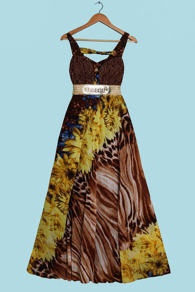 Lace Bust Detail And Gold Belt Yellow Maxi Dress-SinglePrice