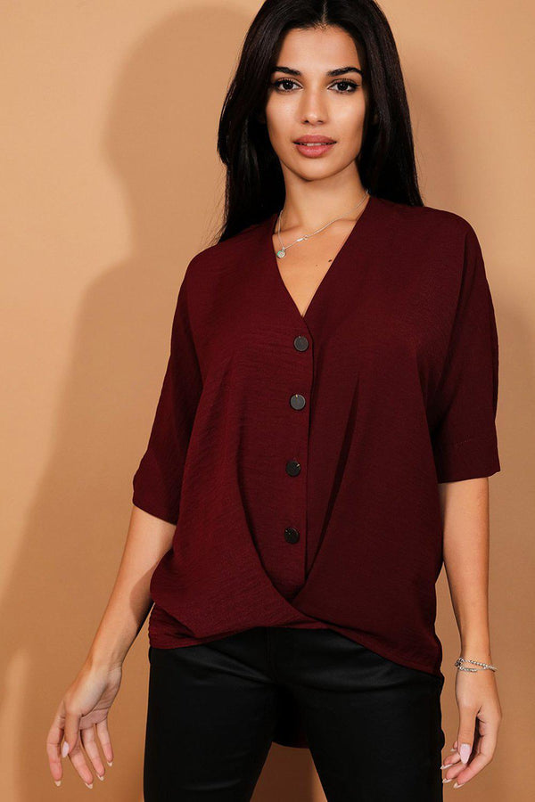 Burgundy Buttons And Twist Front Dip Hem Top - SinglePrice
