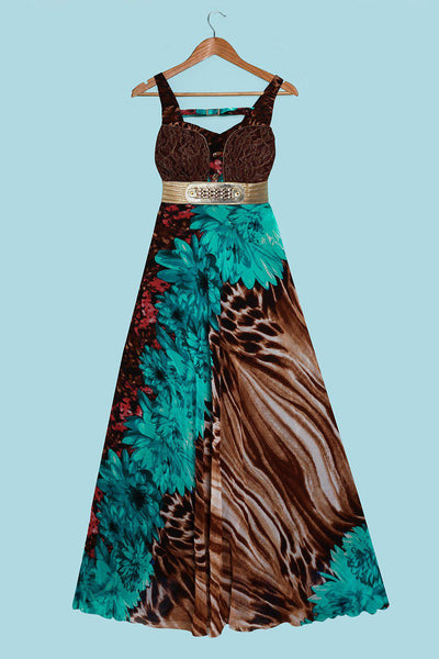 Lace Bust Detail And Gold Belt Green Maxi Dress-SinglePrice