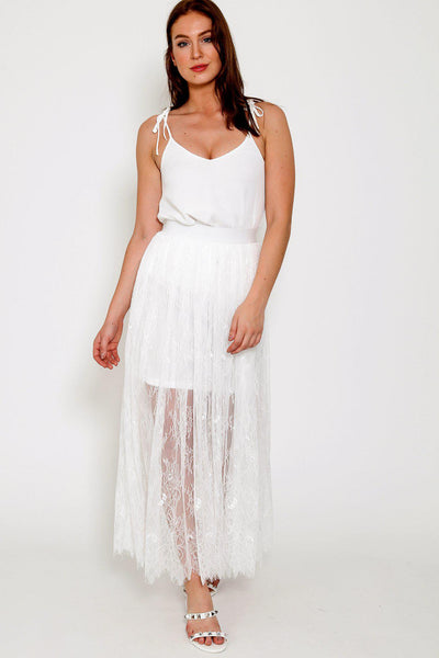 White Lace Maxi Skirt-SinglePrice