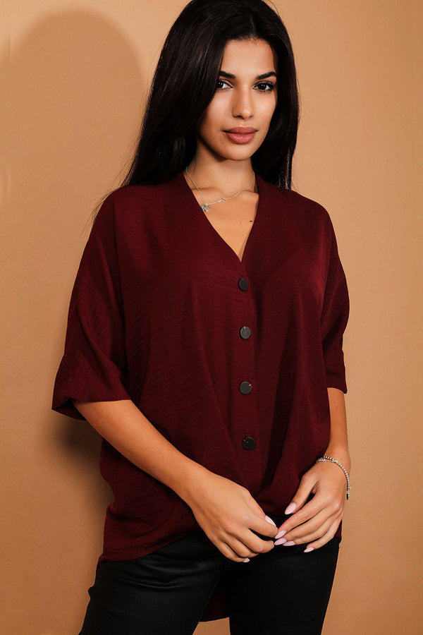 Burgundy Buttons And Twist Front Dip Hem Top-SinglePrice