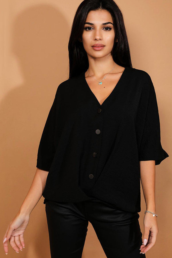 Black Buttons And Twist Front Dip Hem Top-SinglePrice
