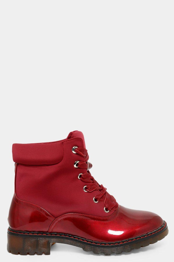 Red Organza Lace Patent Shimmer Panel Boots