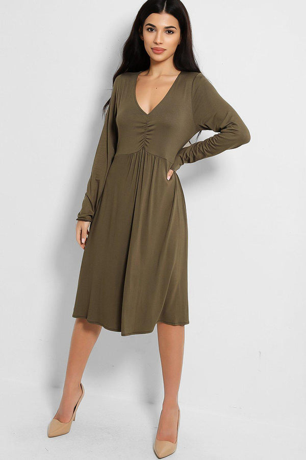 Khaki V-Neck Ruched Front Midi Dress - SinglePrice
