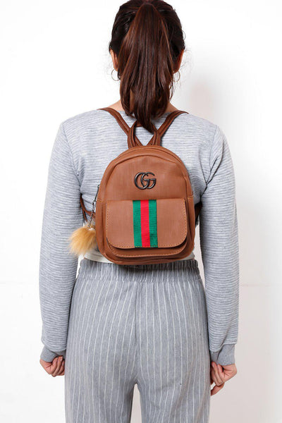 Fur Charm Tape Stripe Small Brown Backpack-SinglePrice