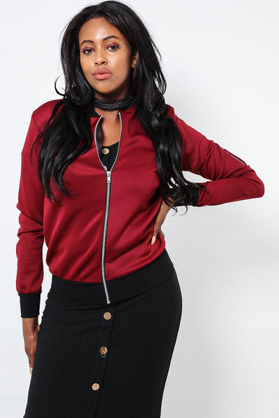 Contrast Trim Thin Red Bomber-SinglePrice