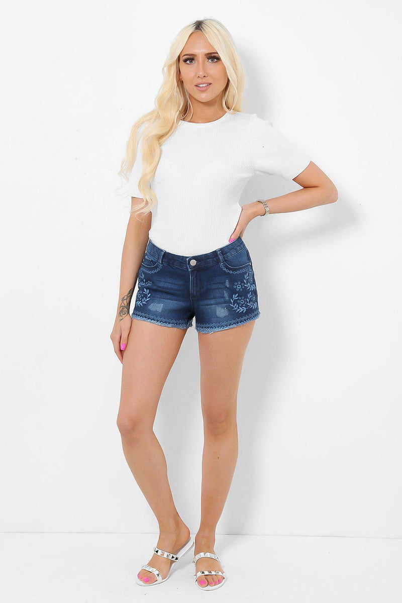 Embroidered Navy Denim Hotpants - SinglePrice