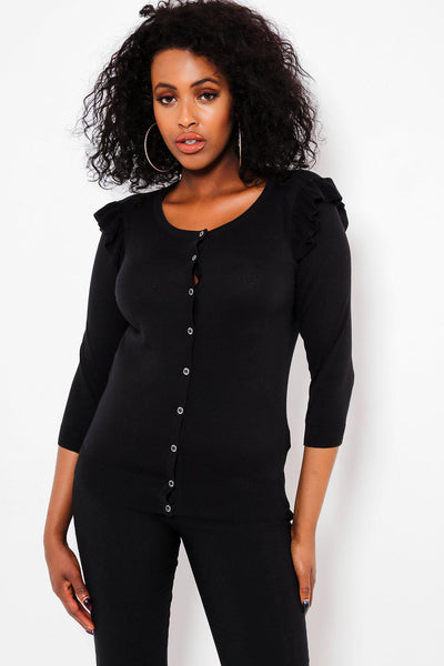 Black Frilled Shoulder Metallic Buttons Classic Cardie-SinglePrice