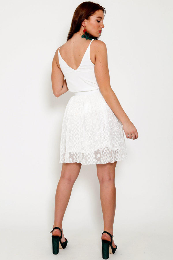 White Lace Mini Skirt-SinglePrice