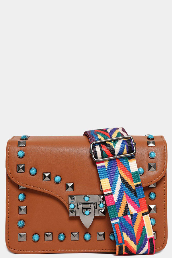Turquoise Studs Embellished Brown Shoulder Bag-SinglePrice