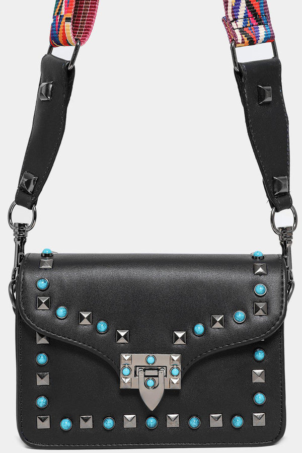 Turquoise Studs Embellished Black Shoulder Bag-SinglePrice