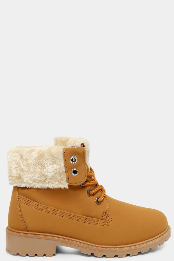 Yellow Folded Faux Fur Lined Hiker Boots