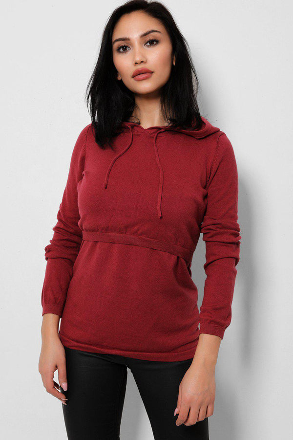 Burgundy Open Layered Front Knitted Hoodie-SinglePrice