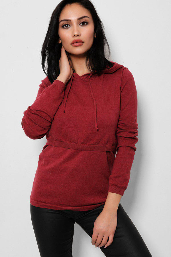 Burgundy Open Layered Front Knitted Hoodie - SinglePrice