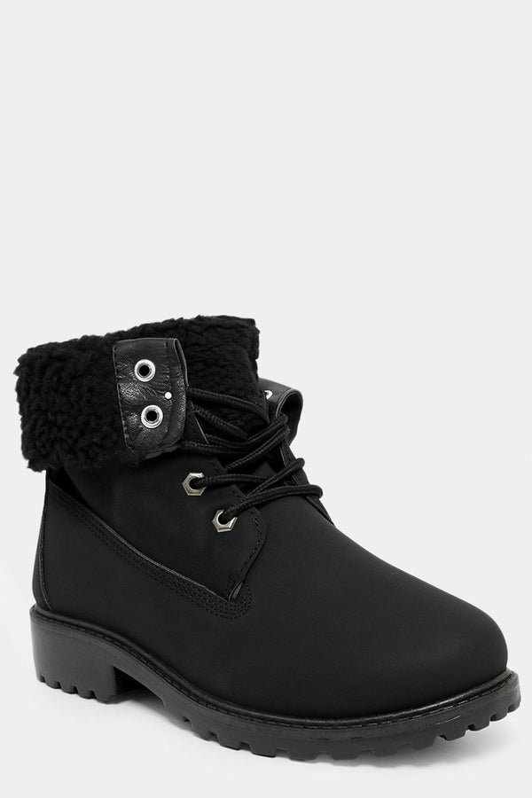 Black Folded Faux Fur Lined Hiker Boots