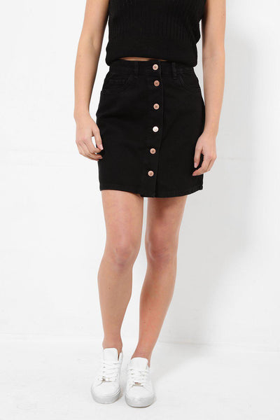 Buttoned Front Black Denim Skirt-SinglePrice