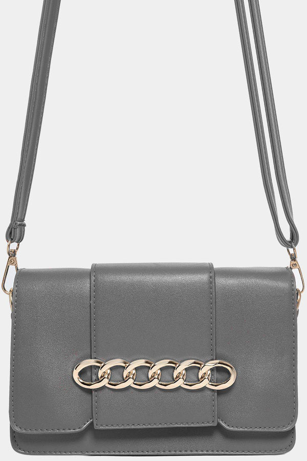 Grey Chain Flap Detail Mini Shoulder Bag-SinglePrice