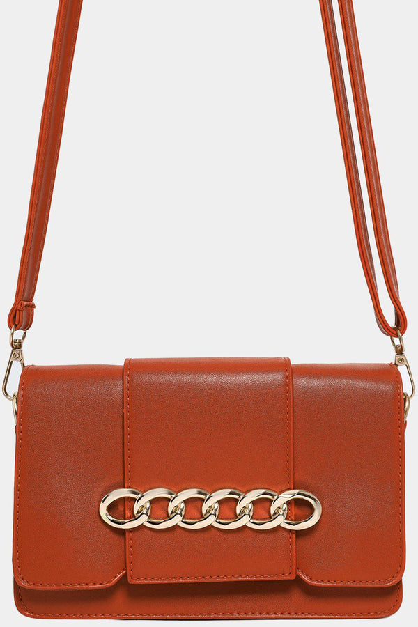 Brown Chain Flap Detail Mini Shoulder Bag-SinglePrice