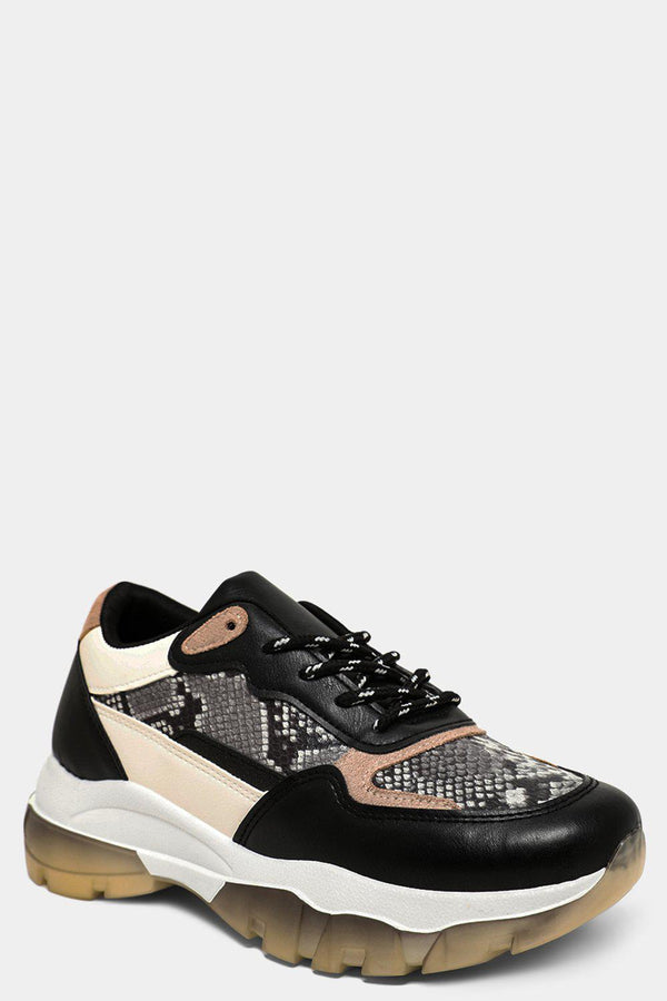 Black Vegan Python Leather Panels Chunky Trainers - SinglePrice