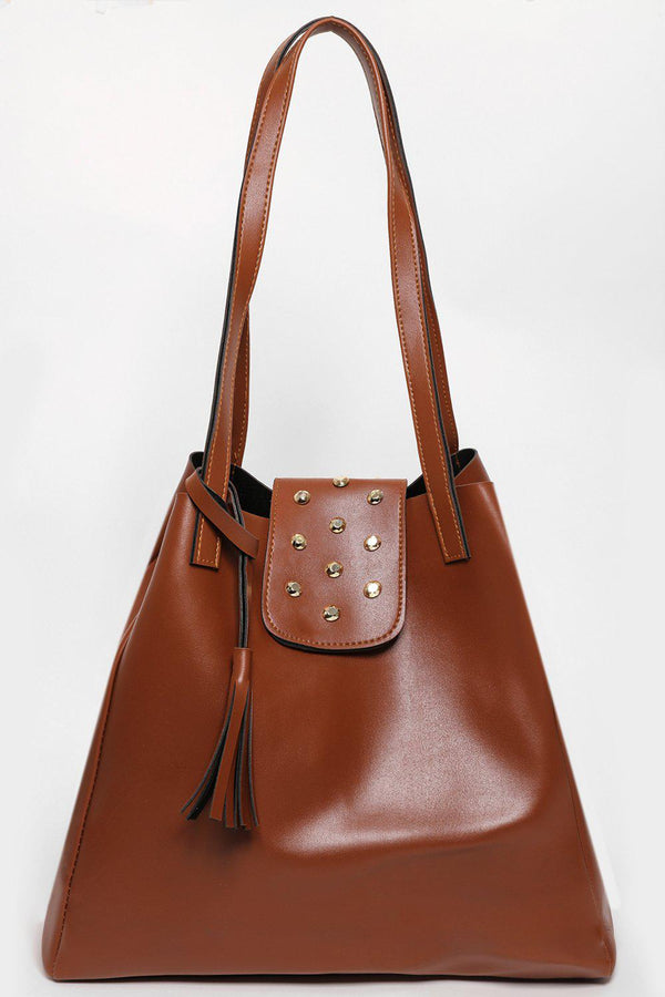 Studded Flap Large Brown Tote-SinglePrice