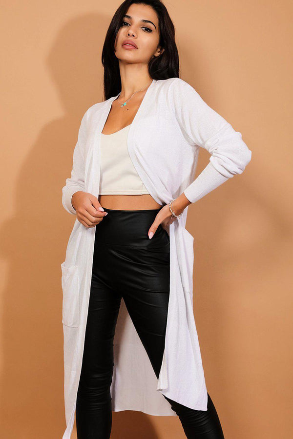 White Side Splits Flat Knit Midaxi Cardigan