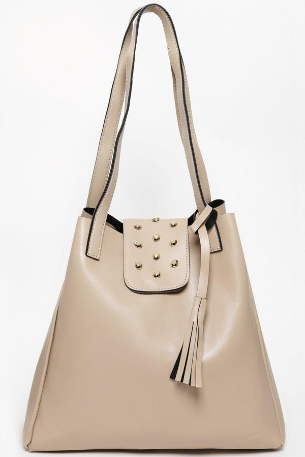 Studded Flap Large Cream Tote-SinglePrice