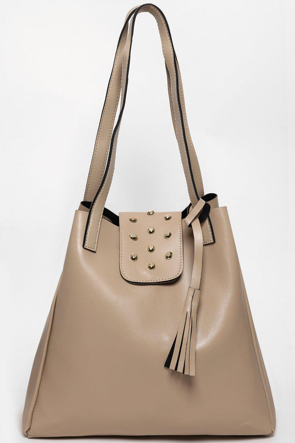 Studded Flap Large Beige Tote-SinglePrice