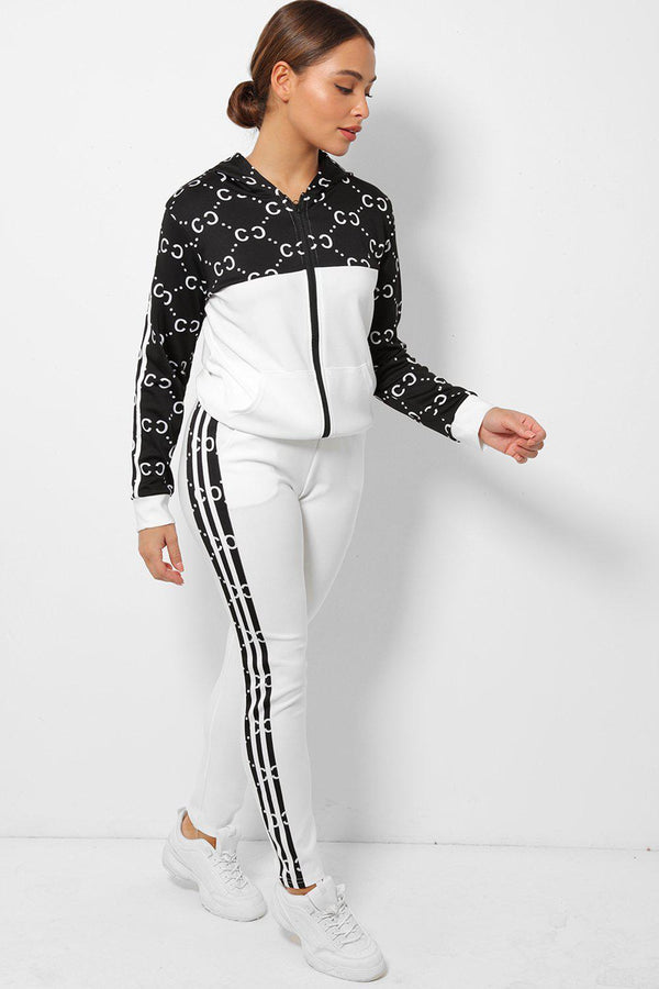 White Logotype Print Twin Side Stripe 2 Piece Tracksuit-SinglePrice