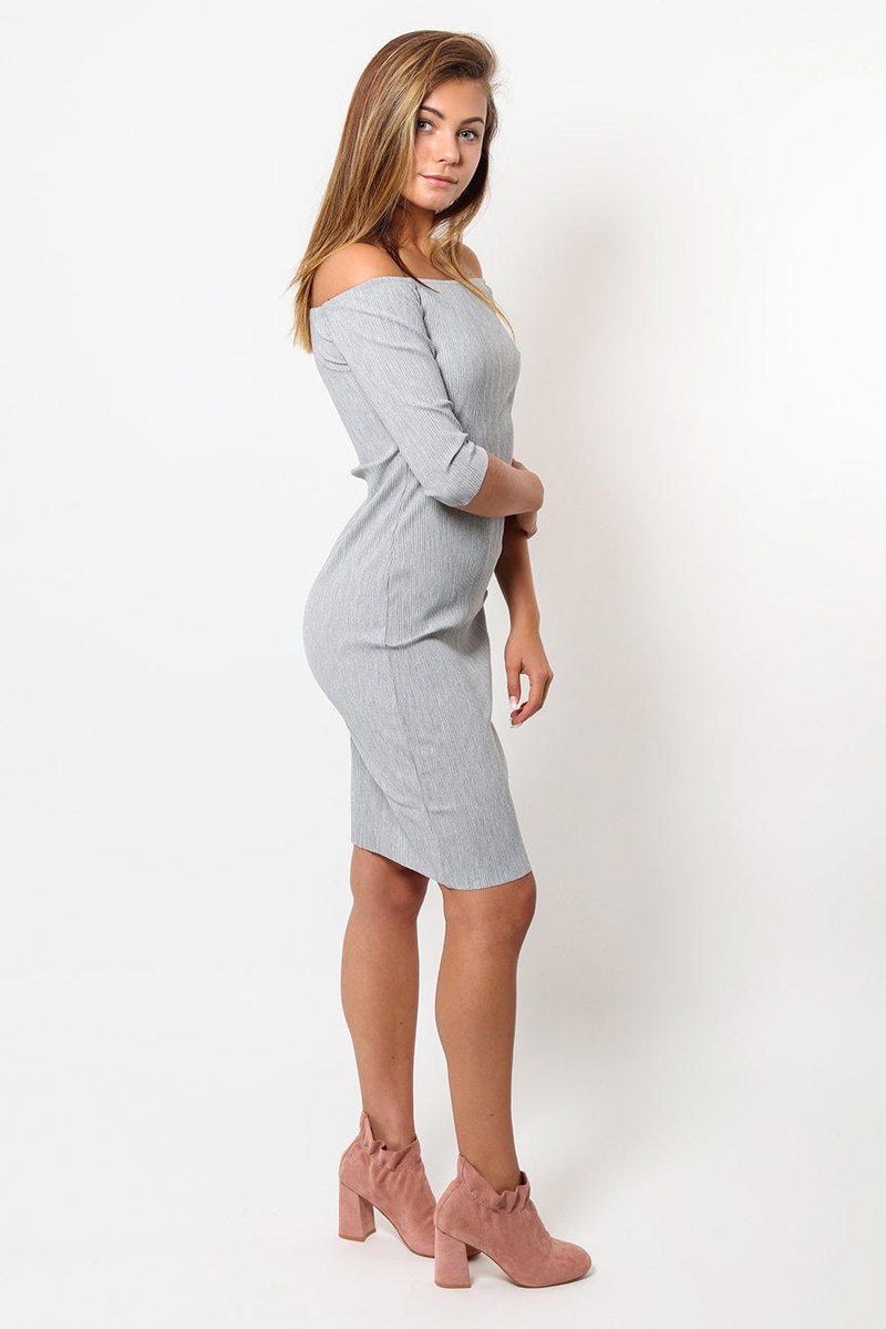 Mini Pleats Grey Off Shoulder Mini Dress - SinglePrice