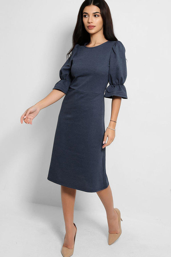 Blue Puff Sleeves Midi Tea Dress - SinglePrice