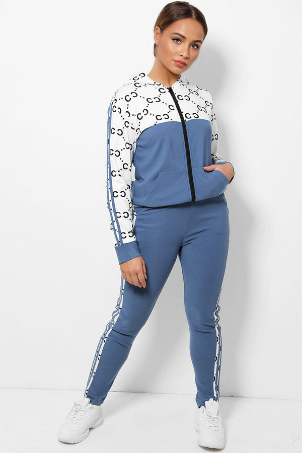 Blue Logotype Print Twin Side Stripe 2 Piece Tracksuit-SinglePrice