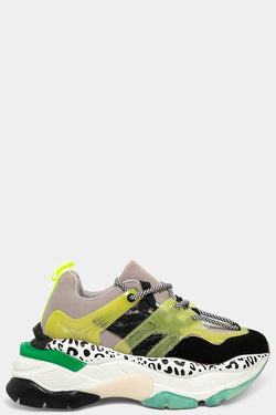 Yellow Mixed Media Twin Lace Up Chunky Trainers - SinglePrice