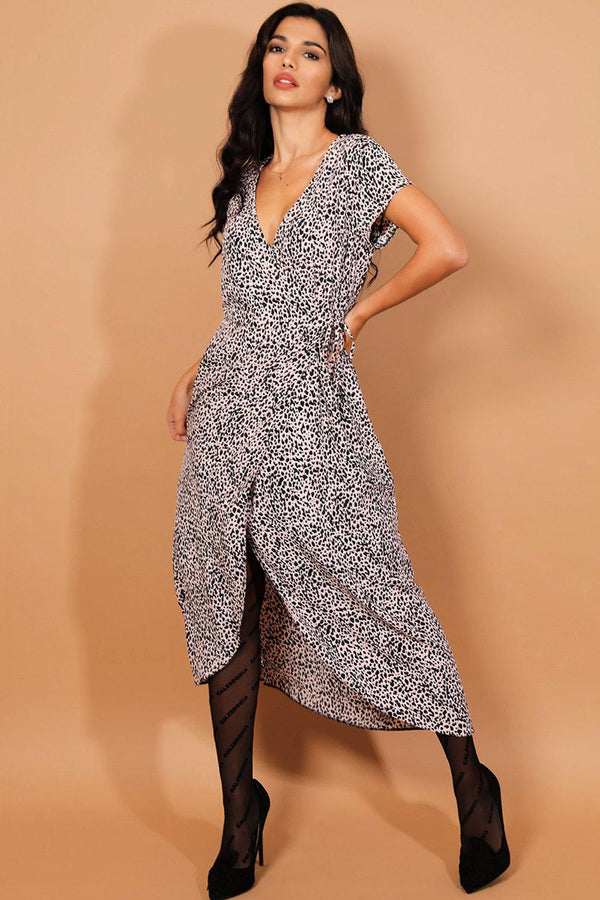 Pink Black Leopard Print Wrap Maxi Dress - SinglePrice