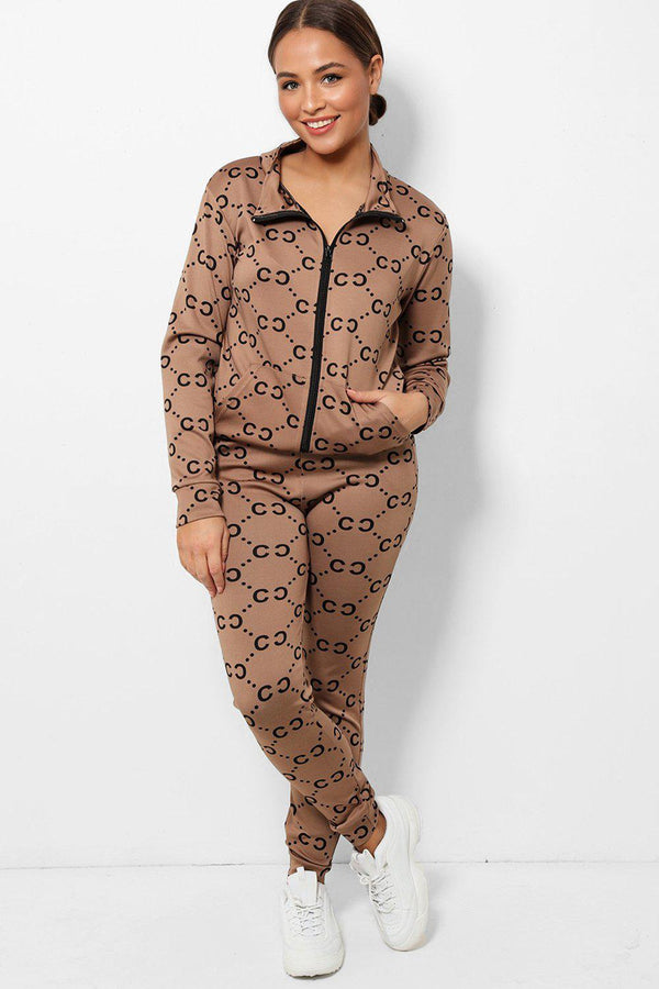 Brown All Over Logotype Print High Neck 2 Piece Tracksuit