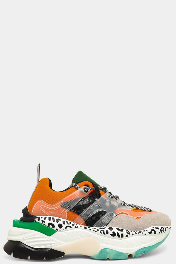 Orange Mixed Media Twin Lace Up Chunky Trainers - SinglePrice