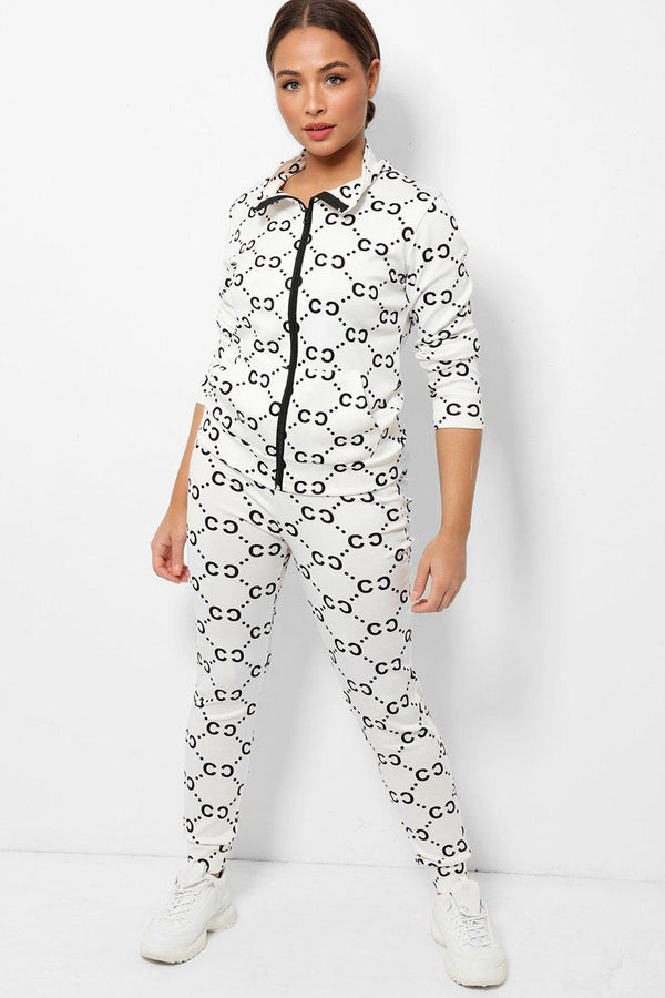White All Over Logotype Print High Neck 2 Piece Tracksuit