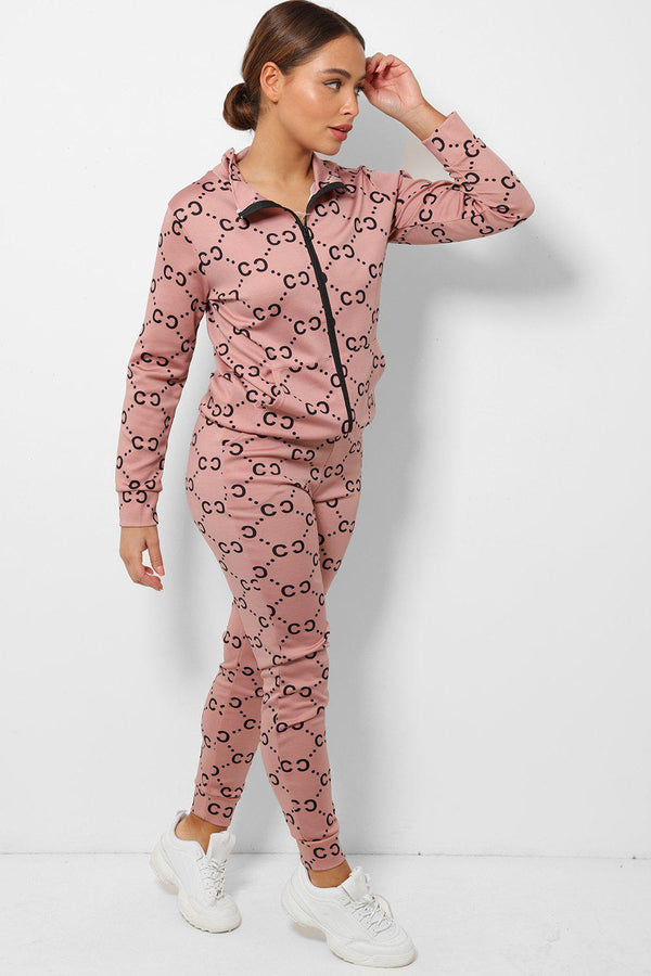 Pink All Over Logotype Print High Neck 2 Piece Tracksuit