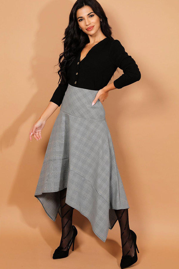 Grey Prince Of Wales Check Asymmetric Hem Smart Casual Skirt