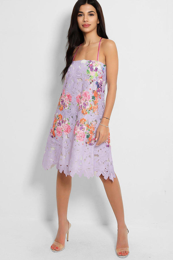 Multicolour Floral Lace Lilac Tie-Up Straps Dress - SinglePrice