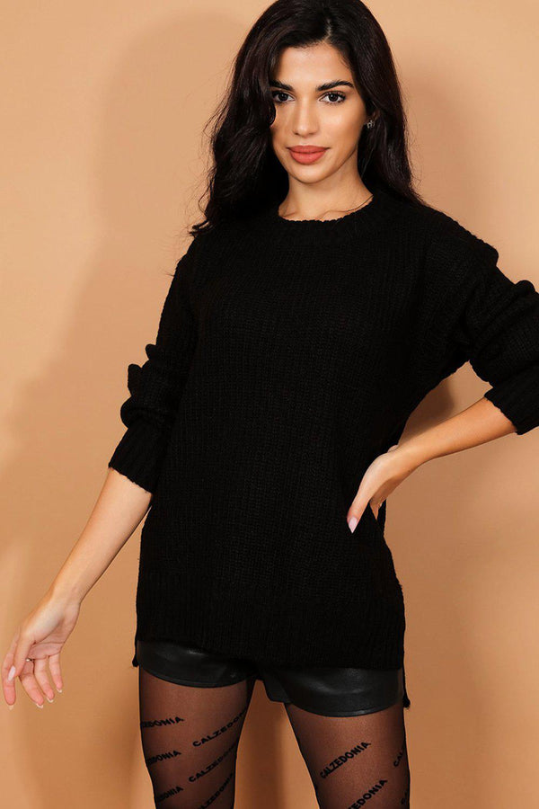Black Side Splits Chunky Rib Stitch Knit Pullover-SinglePrice