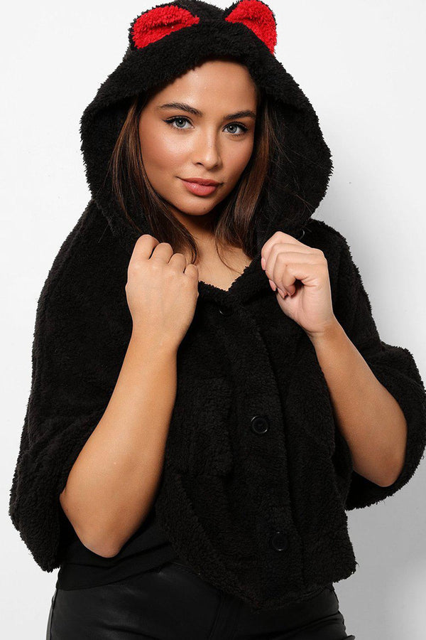 Black Fluffy Teddy Bear Hooded Cape-SinglePrice