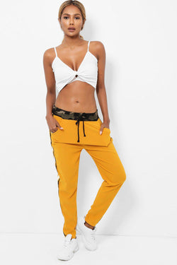 Camo Drawstring Waist White Side Stripe Mustard Trousers - SinglePrice