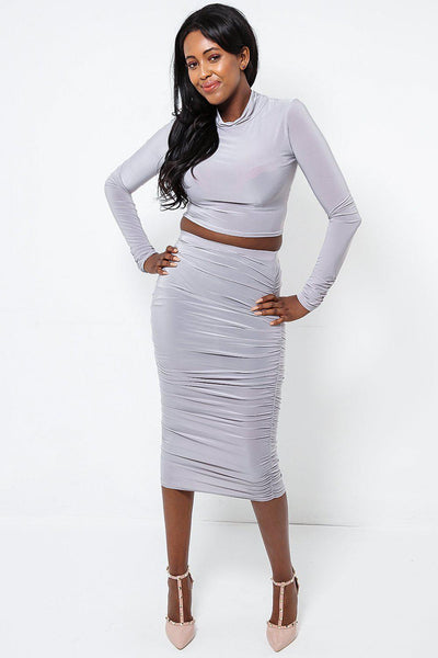 Grey High Neck Top & Ruched Midi Skirt Set-SinglePrice