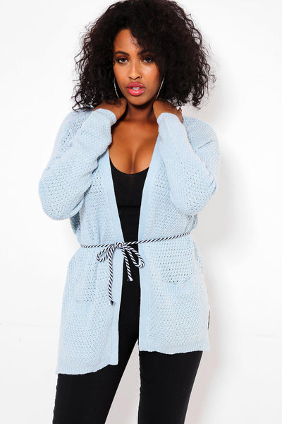 Baby Blue Open Cardie With Rope Belt-SinglePrice